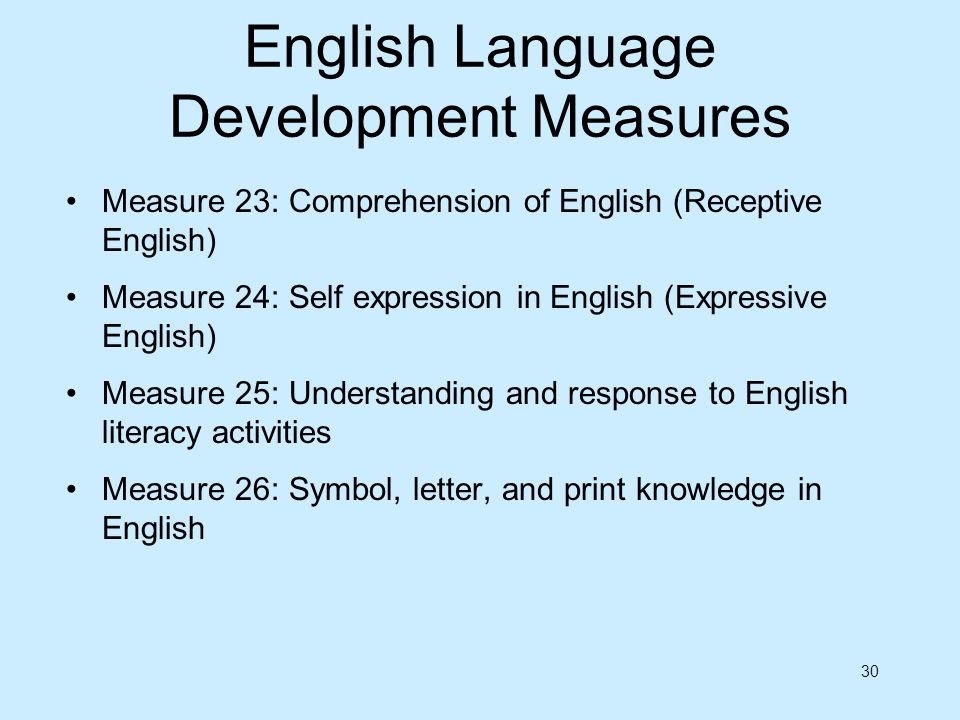 30 English Language Development Measures Measure 23: Comprehension of English (Receptive English) Measure 24: Self expression in English (Expressive E