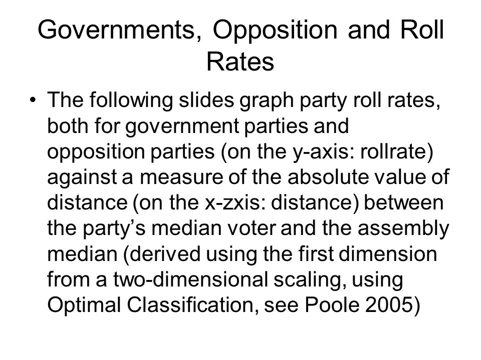 Governments, Opposition and Roll Rates The following slides graph party roll rates, both for government parties and opposition parties (on the y-axis: rollrate) against a measure of the absolute value of distance (on the x-zxis: distance) between the partys median voter and the assembly median (derived using the first dimension from a two-dimensional scaling, using Optimal Classification, see Poole 2005)