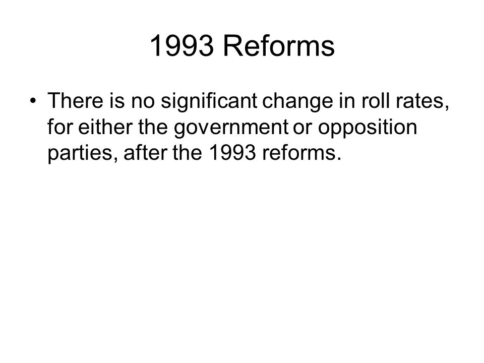 1993 Reforms There is no significant change in roll rates, for either the government or opposition parties, after the 1993 reforms.