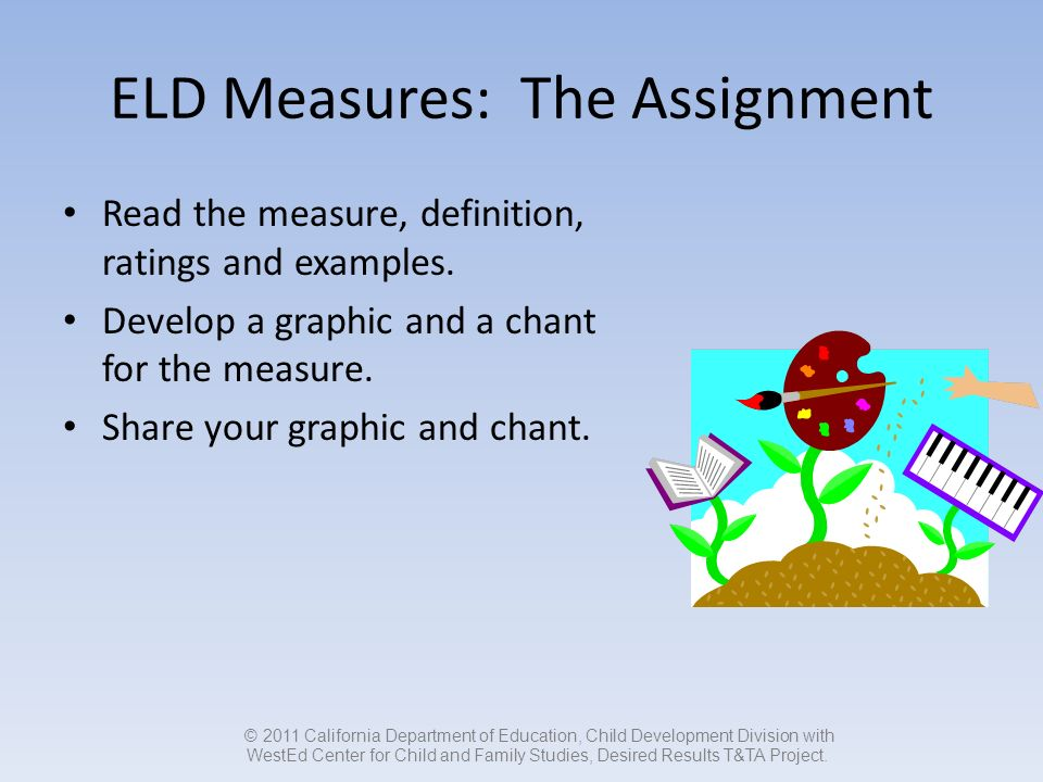 ELD Measures: The Assignment Read the measure, definition, ratings and examples.