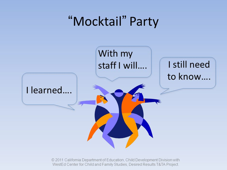 Mocktail Party I learned…. With my staff I will….