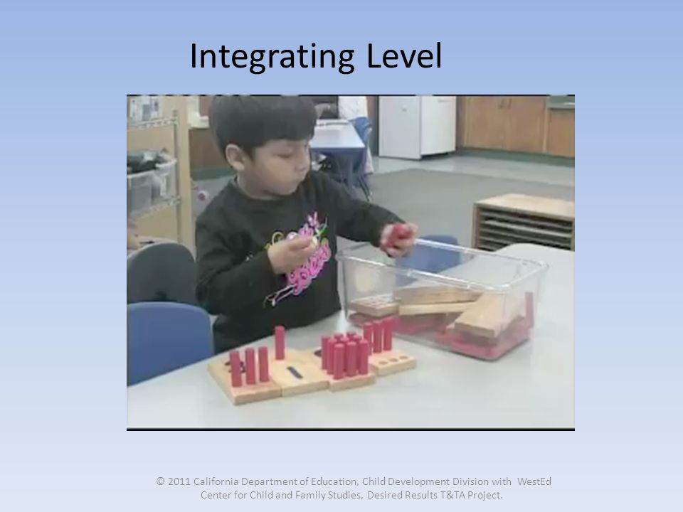Integrating Level © 2011 California Department of Education, Child Development Division with WestEd Center for Child and Family Studies, Desired Results T&TA Project.