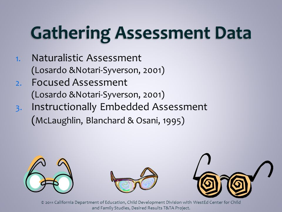1. Naturalistic Assessment (Losardo &Notari-Syverson, 2001) 2. Focused Assessment (Losardo &Notari-Syverson, 2001) 3. Instructionally Embedded Assessm