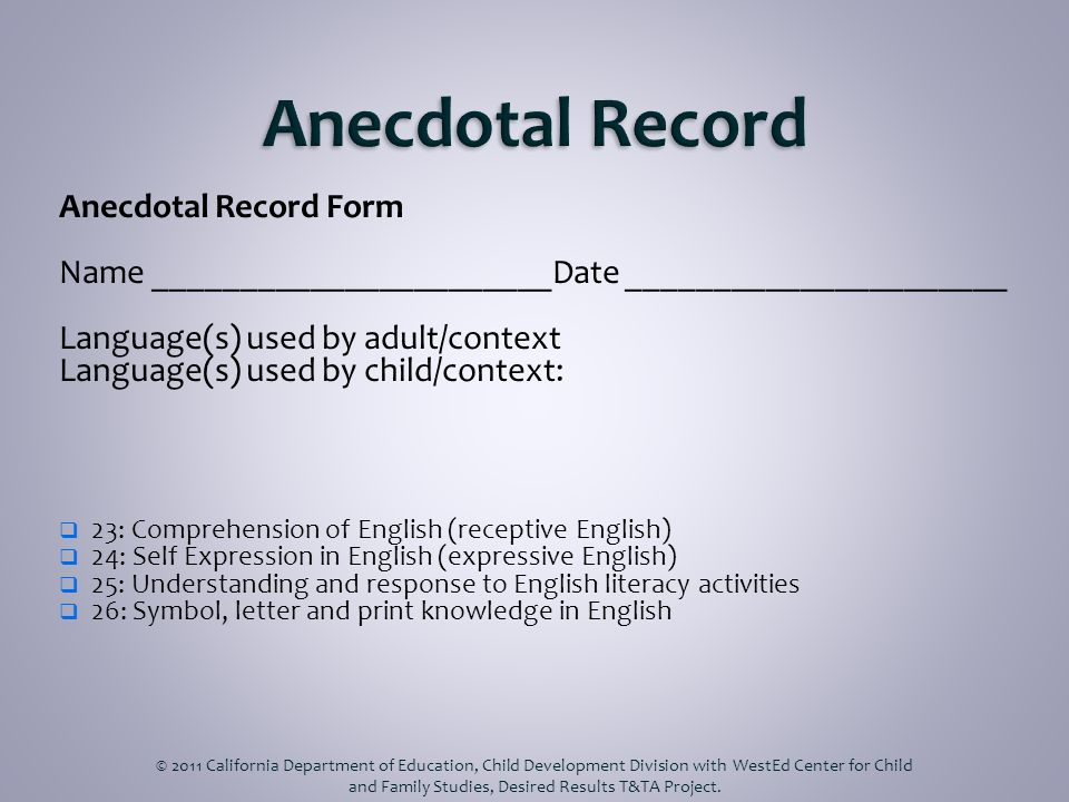 Anecdotal Record Form Name _______________________Date ______________________ Language(s) used by adult/context Language(s) used by child/context: 23: