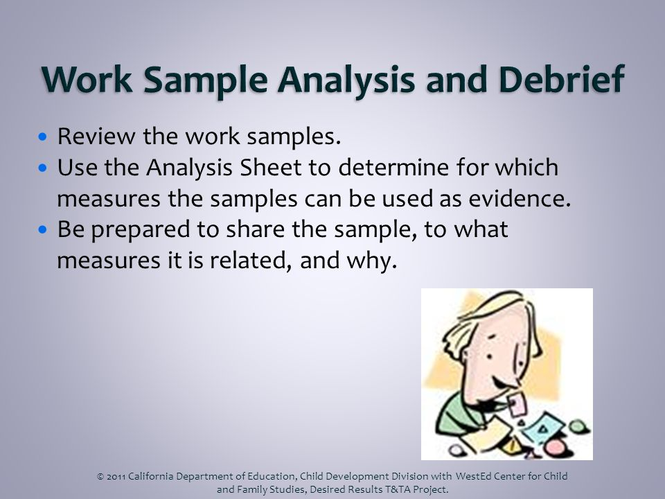Review the work samples. Use the Analysis Sheet to determine for which measures the samples can be used as evidence. Be prepared to share the sample,