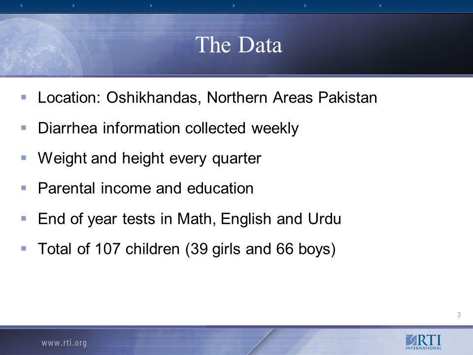 The Data Location: Oshikhandas, Northern Areas Pakistan Diarrhea information collected weekly Weight and height every quarter Parental income and education End of year tests in Math, English and Urdu Total of 107 children (39 girls and 66 boys) 3