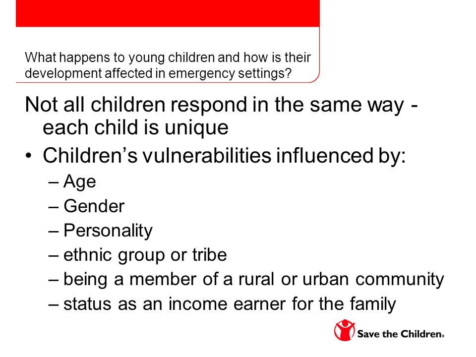 What happens to young children and how is their development affected in emergency settings.