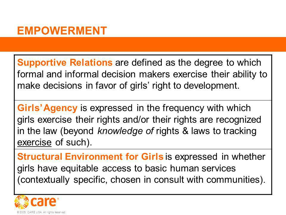 © 2005, CARE USA. All rights reserved. EMPOWERMENT Supportive Relations are defined as the degree to which formal and informal decision makers exercis