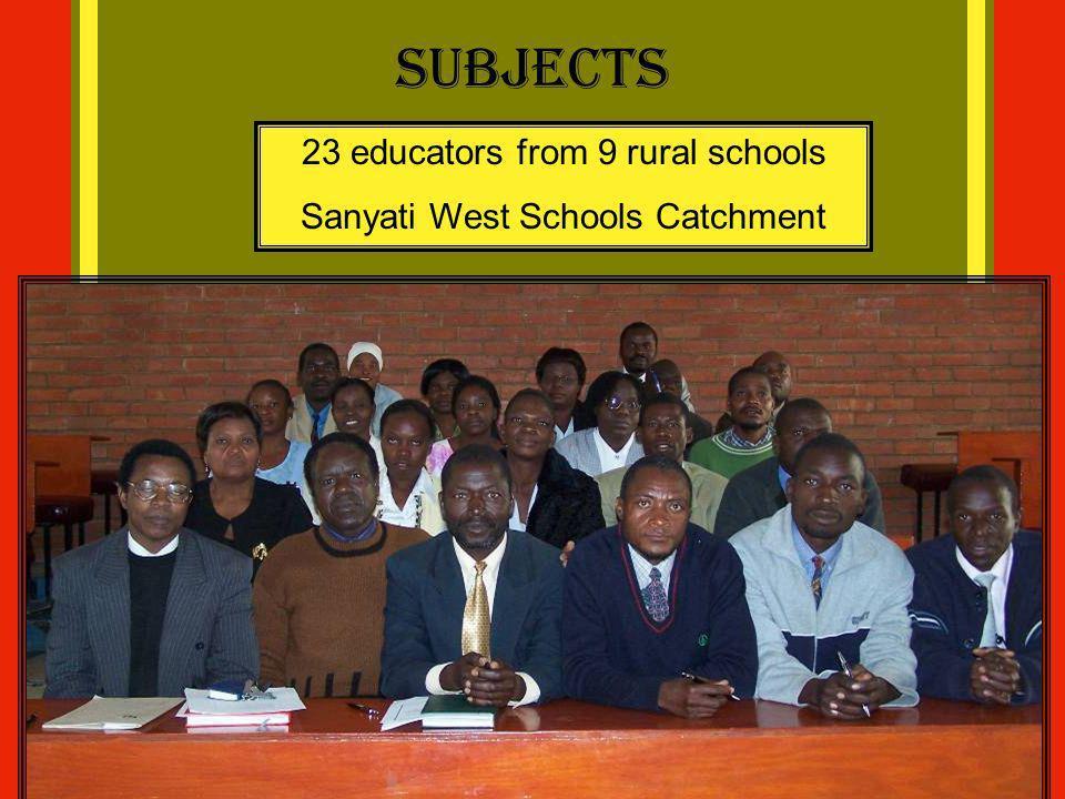 Subjects 23 educators from 9 rural schools Sanyati West Schools Catchment