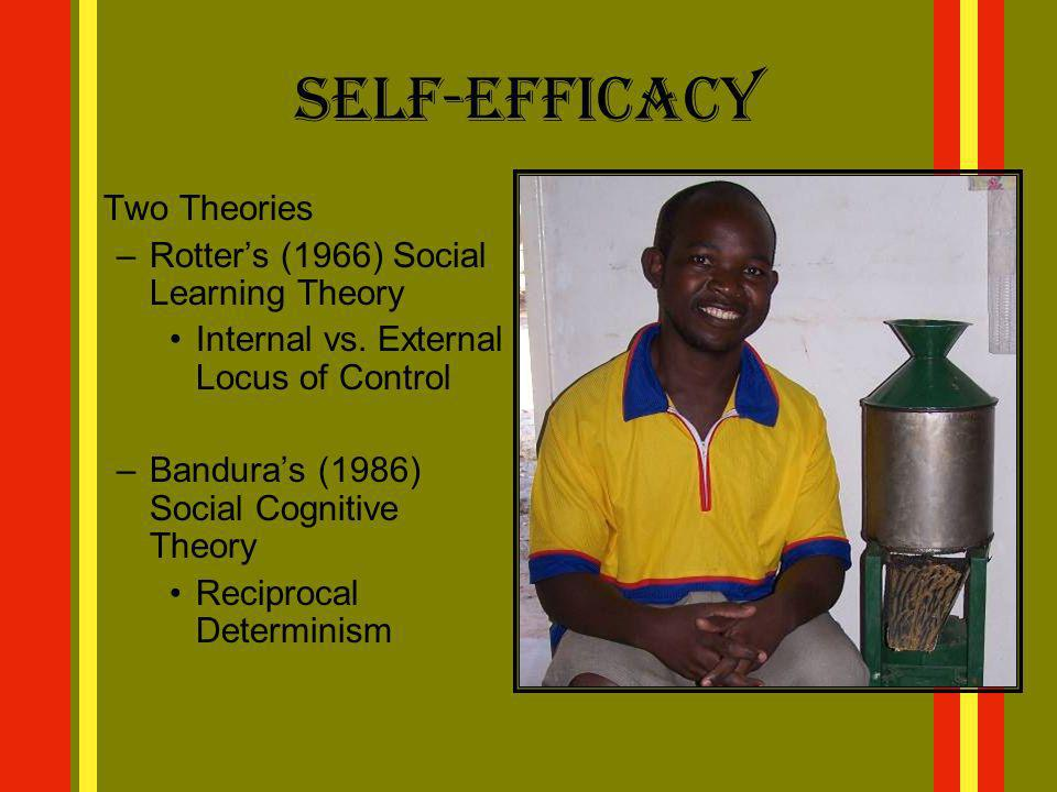 Self-Efficacy Two Theories –Rotters (1966) Social Learning Theory Internal vs. External Locus of Control –Banduras (1986) Social Cognitive Theory Reci
