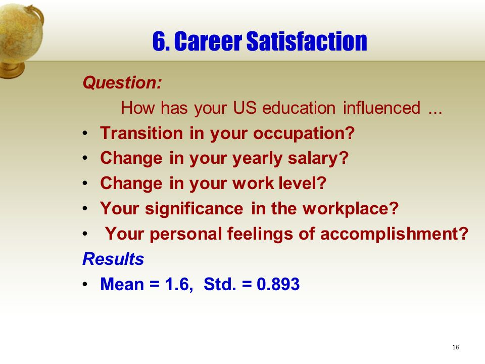 18 6. Career Satisfaction Question: How has your US education influenced...