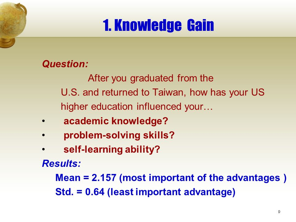 9 1. Knowledge Gain Question: After you graduated from the U.S.