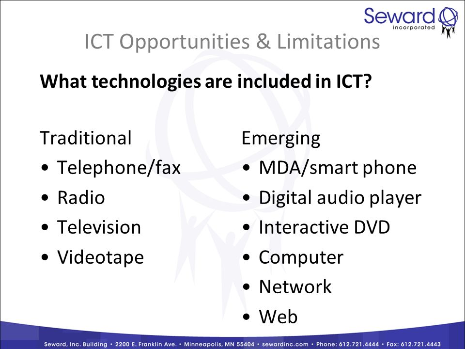 Traditional Telephone/fax Radio Television Videotape Emerging MDA/smart phone Digital audio player Interactive DVD Computer Network Web ICT Opportunities & Limitations What technologies are included in ICT
