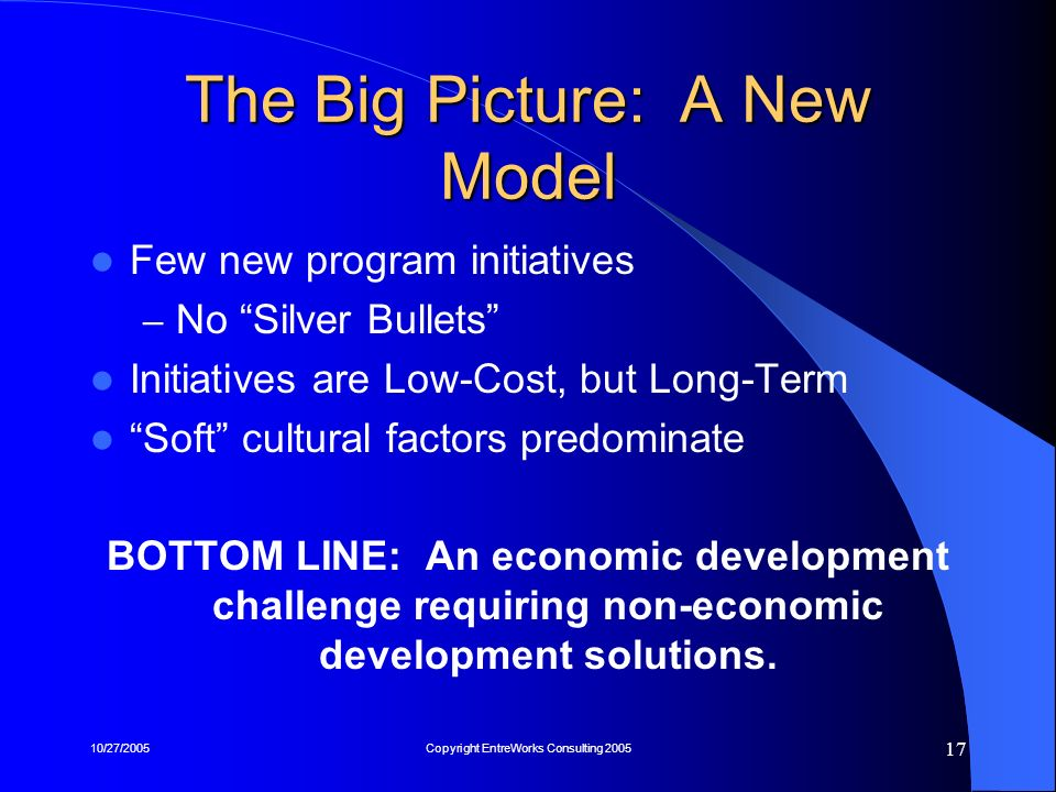 10/27/2005Copyright EntreWorks Consulting 2005 17 The Big Picture: A New Model Few new program initiatives – No Silver Bullets Initiatives are Low-Cos