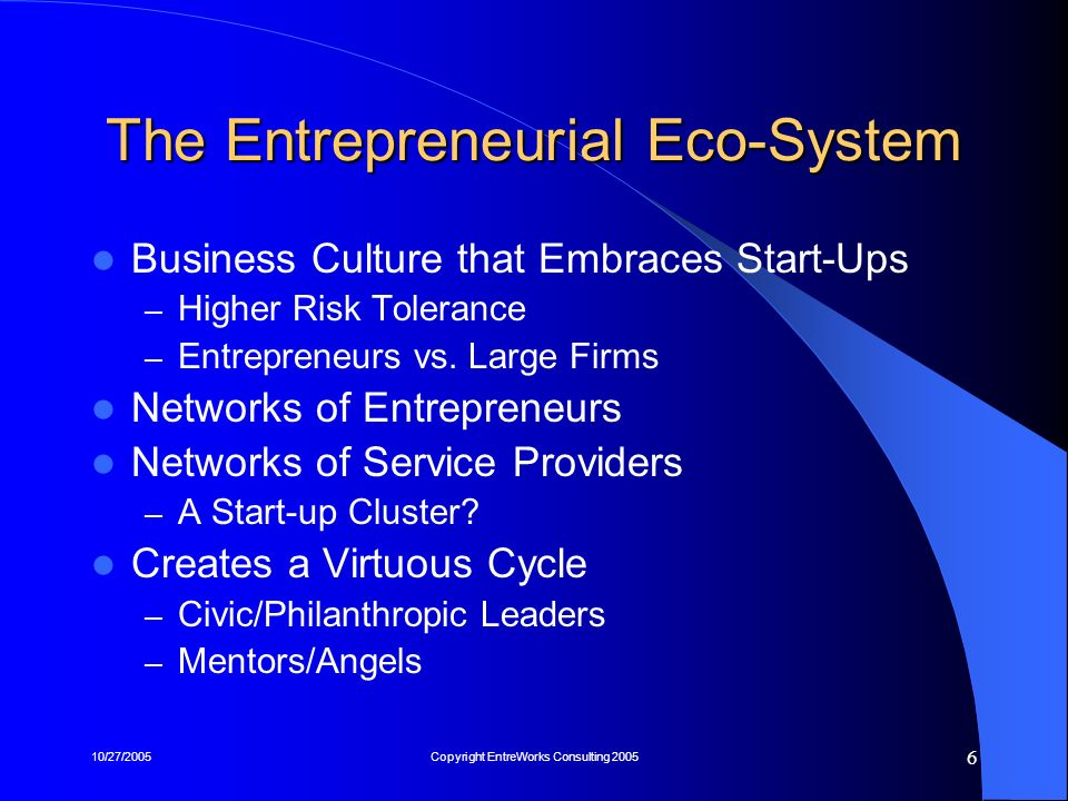 10/27/2005Copyright EntreWorks Consulting 2005 17 The Big Picture: A New Model Few new program initiatives – No Silver Bullets Initiatives are Low-Cost, but Long-Term Soft cultural factors predominate BOTTOM LINE: An economic development challenge requiring non-economic development solutions.