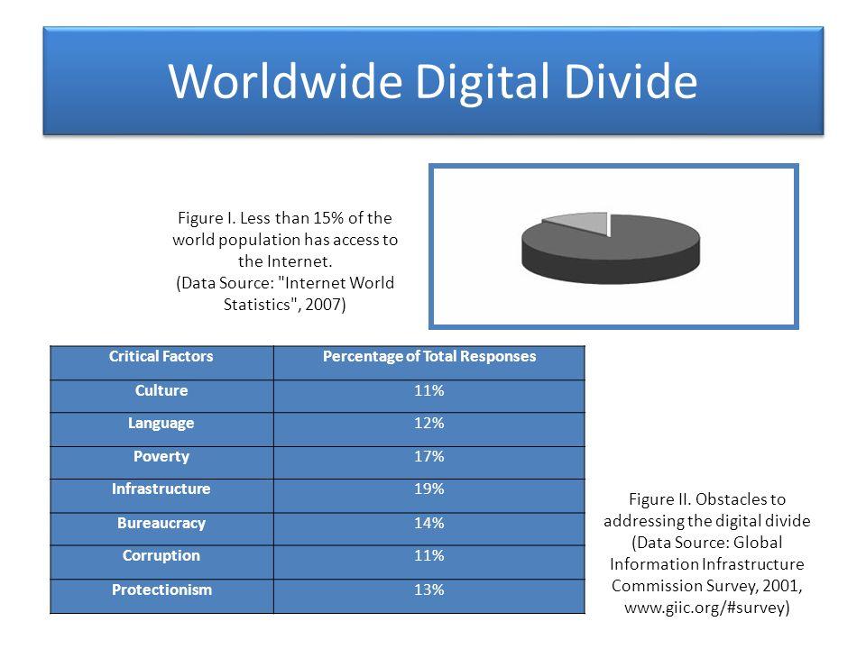 Worldwide Digital Divide Critical FactorsPercentage of Total Responses Culture11% Language12% Poverty17% Infrastructure19% Bureaucracy14% Corruption11