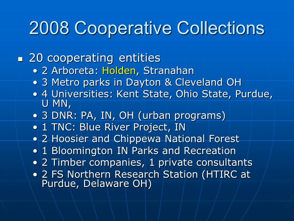 2008 Cooperative Collections 20 cooperating entities 20 cooperating entities 2 Arboreta: Holden, Stranahan2 Arboreta: Holden, Stranahan 3 Metro parks