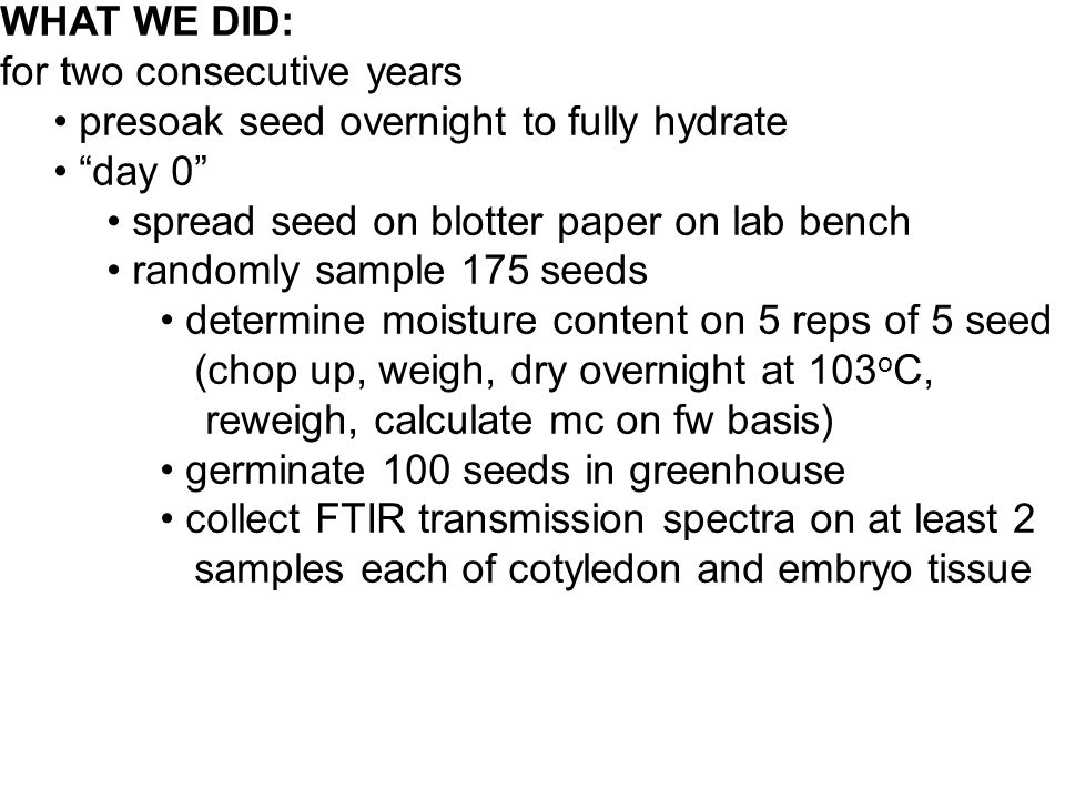 WHAT WE DID: for two consecutive years presoak seed overnight to fully hydrate day 0 spread seed on blotter paper on lab bench randomly sample 175 seeds determine moisture content on 5 reps of 5 seed (chop up, weigh, dry overnight at 103 o C, reweigh, calculate mc on fw basis) germinate 100 seeds in greenhouse collect FTIR transmission spectra on at least 2 samples each of cotyledon and embryo tissue