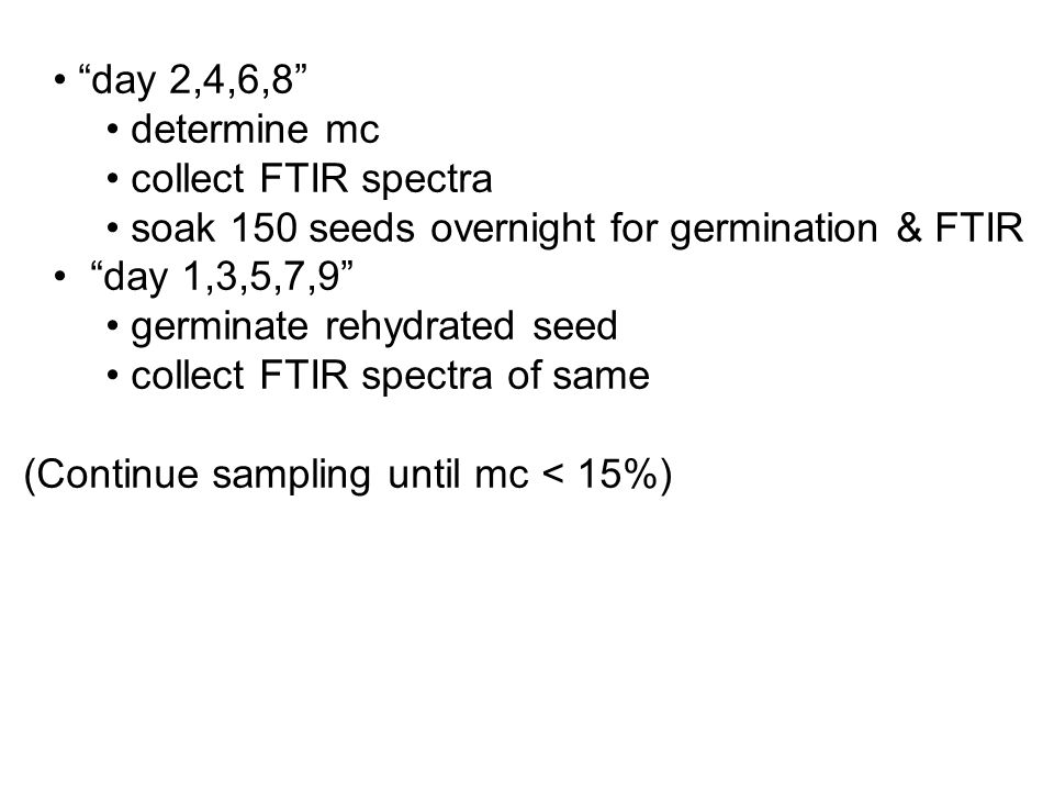 day 2,4,6,8 determine mc collect FTIR spectra soak 150 seeds overnight for germination & FTIR day 1,3,5,7,9 germinate rehydrated seed collect FTIR spectra of same (Continue sampling until mc < 15%)