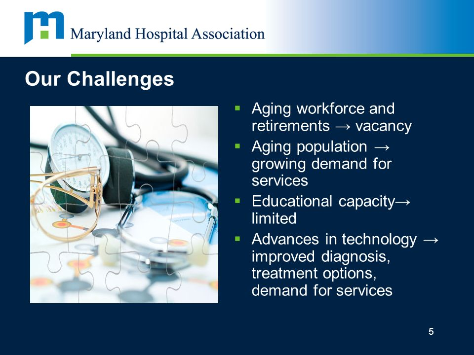 5 Our Challenges Aging workforce and retirements vacancy Aging population growing demand for services Educational capacity limited Advances in technology improved diagnosis, treatment options, demand for services