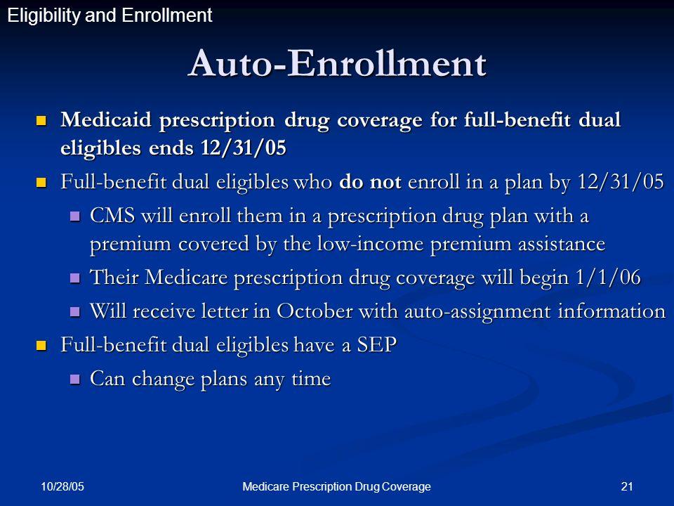 10/28/05 21Medicare Prescription Drug Coverage Auto-Enrollment Medicaid prescription drug coverage for full-benefit dual eligibles ends 12/31/05 Medicaid prescription drug coverage for full-benefit dual eligibles ends 12/31/05 Full-benefit dual eligibles who do not enroll in a plan by 12/31/05 Full-benefit dual eligibles who do not enroll in a plan by 12/31/05 CMS will enroll them in a prescription drug plan with a premium covered by the low-income premium assistance CMS will enroll them in a prescription drug plan with a premium covered by the low-income premium assistance Their Medicare prescription drug coverage will begin 1/1/06 Their Medicare prescription drug coverage will begin 1/1/06 Will receive letter in October with auto-assignment information Will receive letter in October with auto-assignment information Full-benefit dual eligibles have a SEP Full-benefit dual eligibles have a SEP Can change plans any time Can change plans any time Eligibility and Enrollment