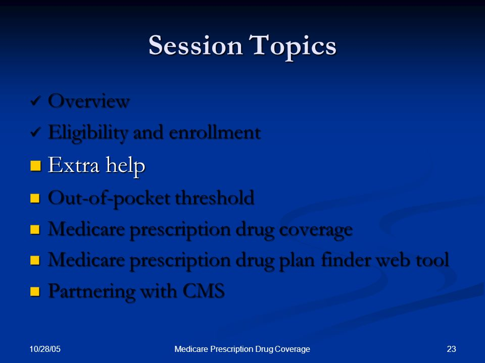 10/28/05 23Medicare Prescription Drug Coverage Session Topics Overview Overview Eligibility and enrollment Eligibility and enrollment Extra help Extra