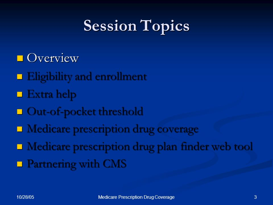 10/28/05 3Medicare Prescription Drug Coverage Session Topics Overview Overview Eligibility and enrollment Eligibility and enrollment Extra help Extra