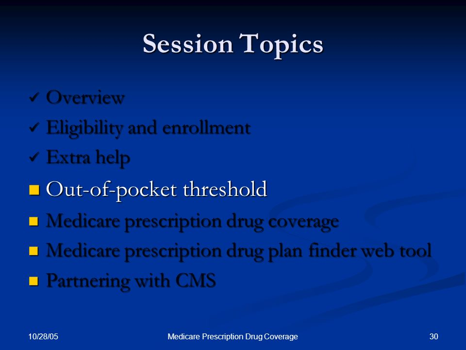 10/28/05 30Medicare Prescription Drug Coverage Session Topics Overview Overview Eligibility and enrollment Eligibility and enrollment Extra help Extra