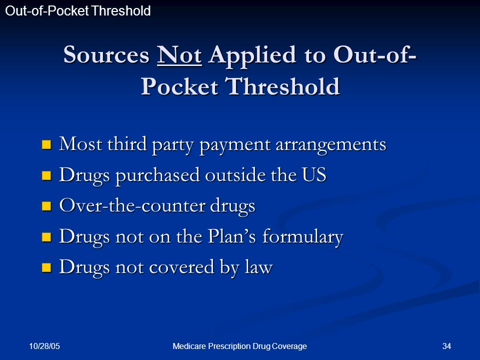 10/28/05 34Medicare Prescription Drug Coverage Sources Not Applied to Out-of- Pocket Threshold Most third party payment arrangements Most third party