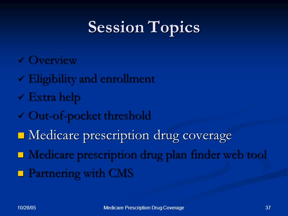 10/28/05 37Medicare Prescription Drug Coverage Session Topics Overview Overview Eligibility and enrollment Eligibility and enrollment Extra help Extra