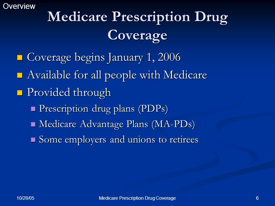 10/28/05 6Medicare Prescription Drug Coverage Coverage begins January 1, 2006 Coverage begins January 1, 2006 Available for all people with Medicare A