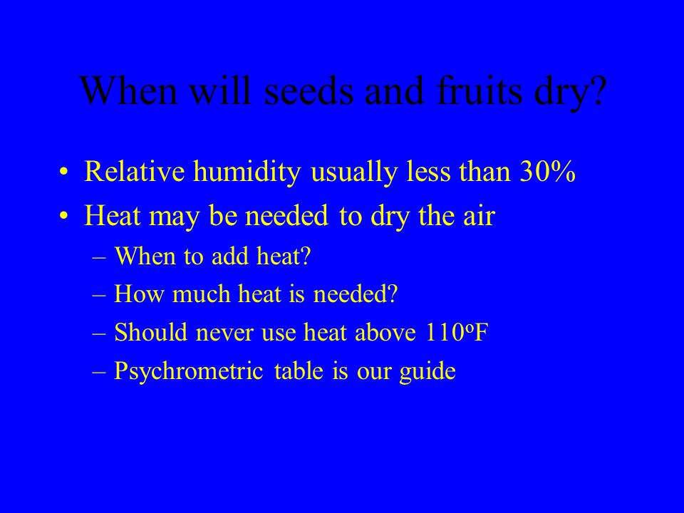 When will seeds and fruits dry? Relative humidity usually less than 30% Heat may be needed to dry the air –When to add heat? –How much heat is needed?