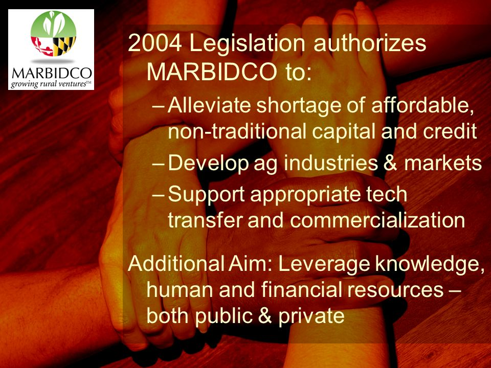 2004 Legislation authorizes MARBIDCO to: –Alleviate shortage of affordable, non-traditional capital and credit –Develop ag industries & markets –Support appropriate tech transfer and commercialization Additional Aim: Leverage knowledge, human and financial resources – both public & private