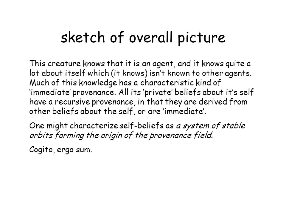 sketch of overall picture This creature knows that it is an agent, and it knows quite a lot about itself which (it knows) isnt known to other agents.