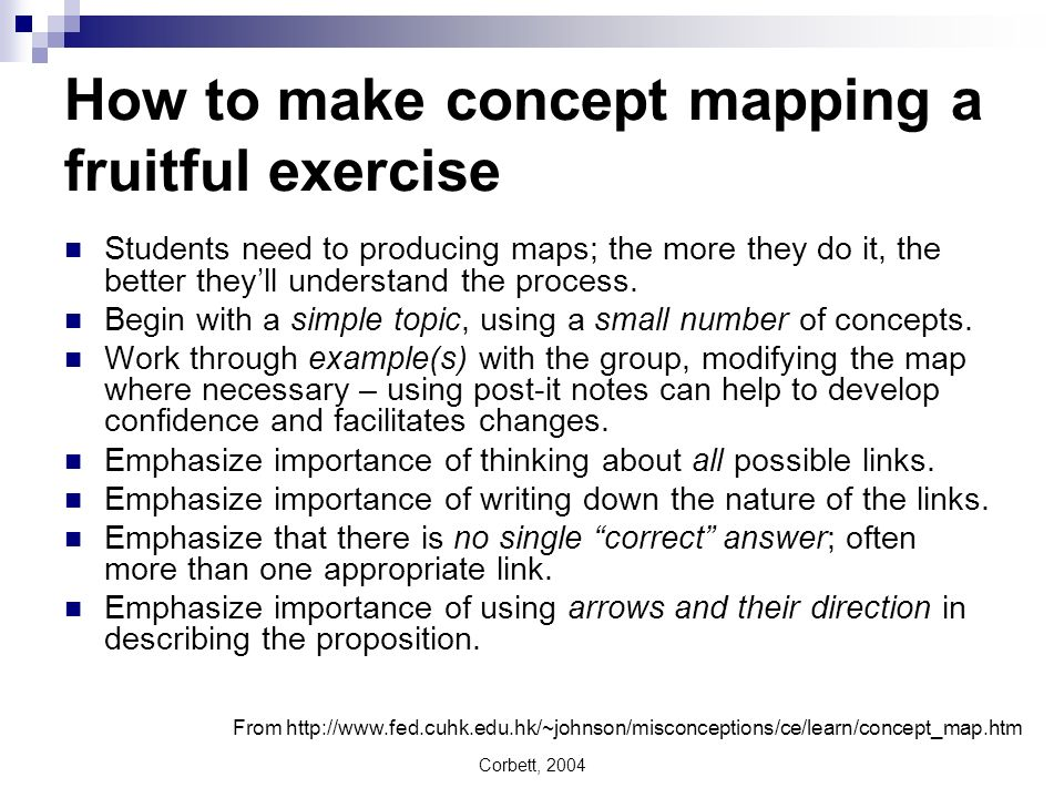 How to make concept mapping a fruitful exercise Students need to producing maps; the more they do it, the better theyll understand the process. Begin