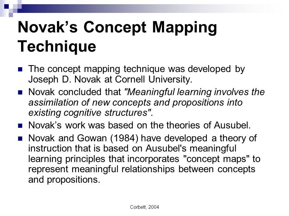 Corbett, 2004 Novaks Concept Mapping Technique The concept mapping technique was developed by Joseph D. Novak at Cornell University. Novak concluded t