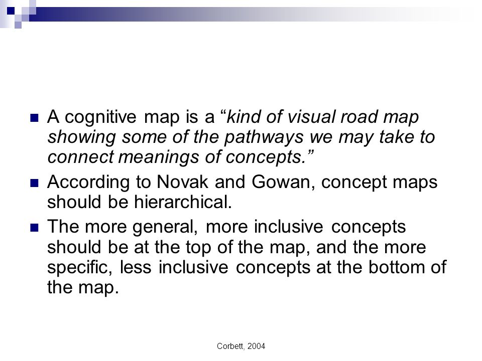 Corbett, 2004 A cognitive map is a kind of visual road map showing some of the pathways we may take to connect meanings of concepts. According to Nova