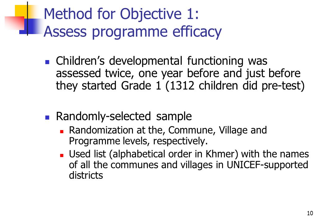 10 Method for Objective 1: Assess programme efficacy Childrens developmental functioning was assessed twice, one year before and just before they started Grade 1 (1312 children did pre-test) Randomly-selected sample Randomization at the, Commune, Village and Programme levels, respectively.