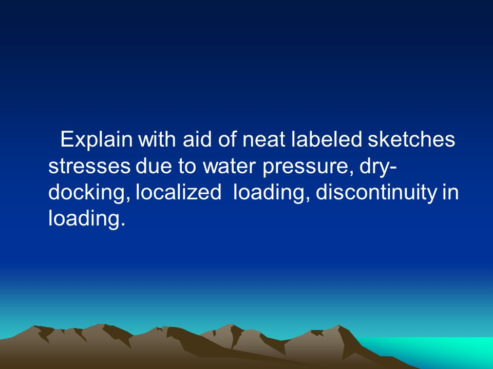 Explain with aid of neat labeled sketches stresses due to water pressure, dry- docking, localized loading, discontinuity in loading.