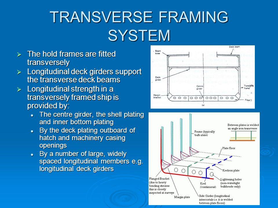 TRANSVERSE FRAMING SYSTEM The hold frames are fitted transversely The hold frames are fitted transversely Longitudinal deck girders support the transv