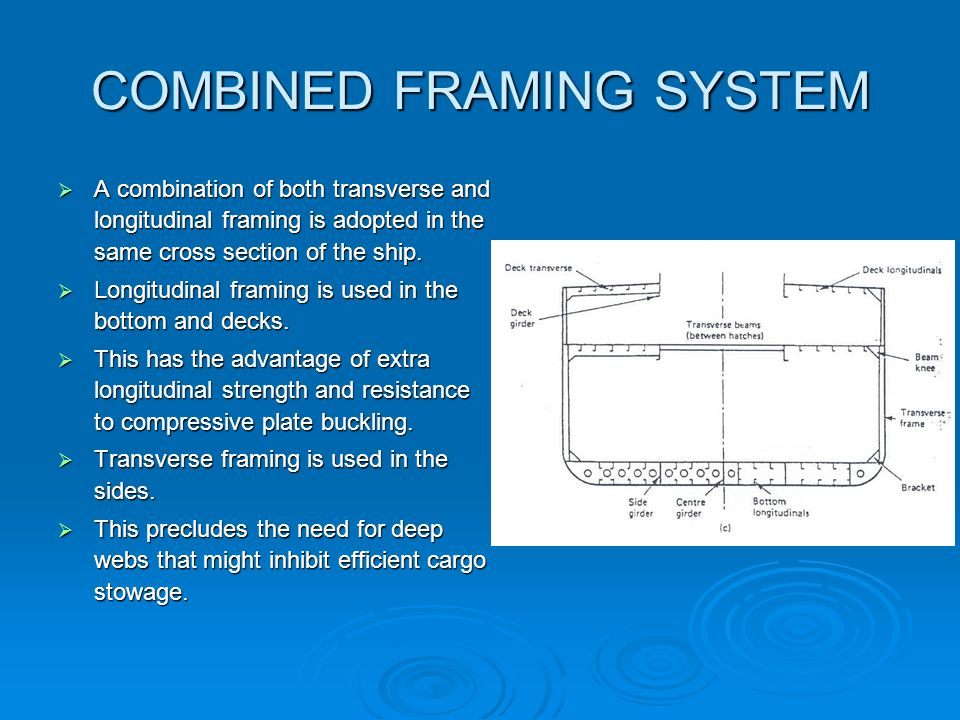 COMBINED FRAMING SYSTEM A combination of both transverse and longitudinal framing is adopted in the same cross section of the ship. A combination of b