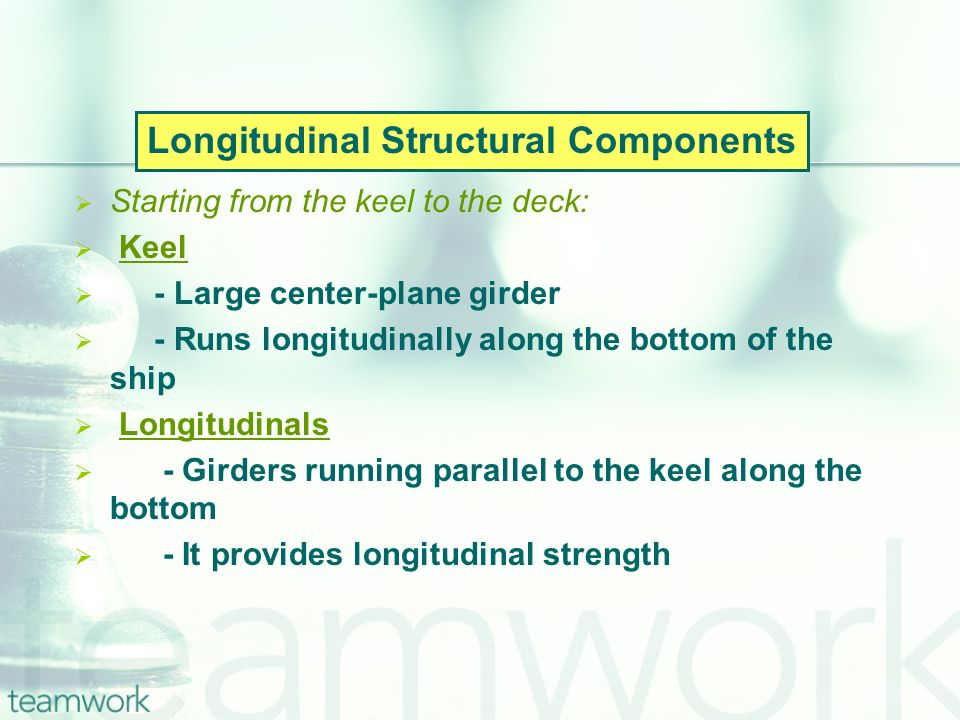 Starting from the keel to the deck: Keel - Large center-plane girder - Runs longitudinally along the bottom of the ship Longitudinals - Girders running parallel to the keel along the bottom - It provides longitudinal strength Longitudinal Structural Components