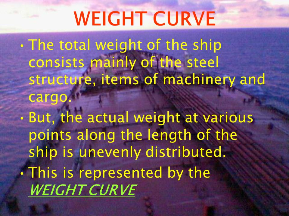 WEIGHT CURVE The total weight of the ship consists mainly of the steel structure, items of machinery and cargo. But, the actual weight at various poin