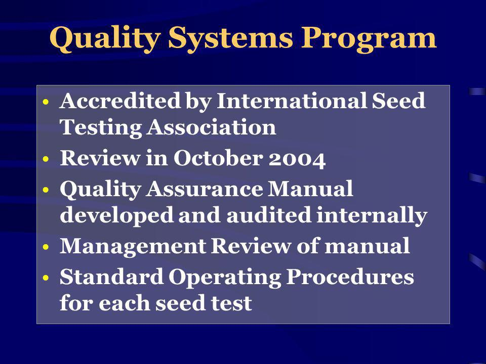 Quality Systems Program Accredited by International Seed Testing Association Review in October 2004 Quality Assurance Manual developed and audited internally Management Review of manual Standard Operating Procedures for each seed test
