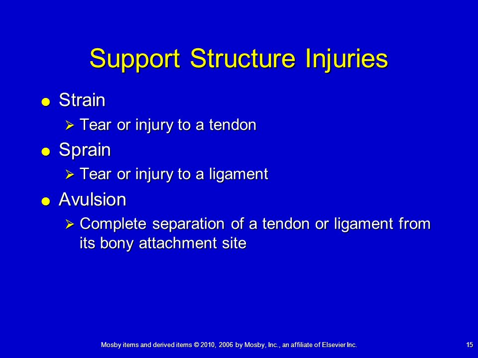 Mosby items and derived items © 2010, 2006 by Mosby, Inc., an affiliate of Elsevier Inc. 15 Support Structure Injuries Strain Strain Tear or injury to
