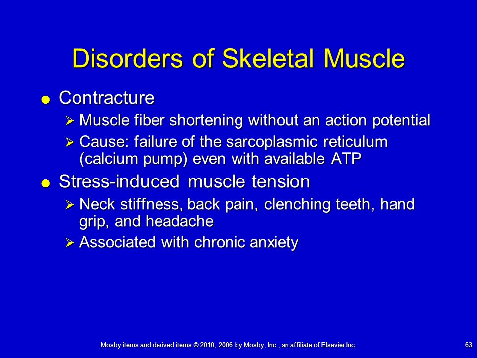 Mosby items and derived items © 2010, 2006 by Mosby, Inc., an affiliate of Elsevier Inc. 63 Disorders of Skeletal Muscle Contracture Contracture Muscl