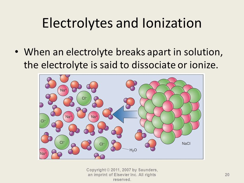 Electrolytes and Ionization When an electrolyte breaks apart in solution, the electrolyte is said to dissociate or ionize. Copyright © 2011, 2007 by S
