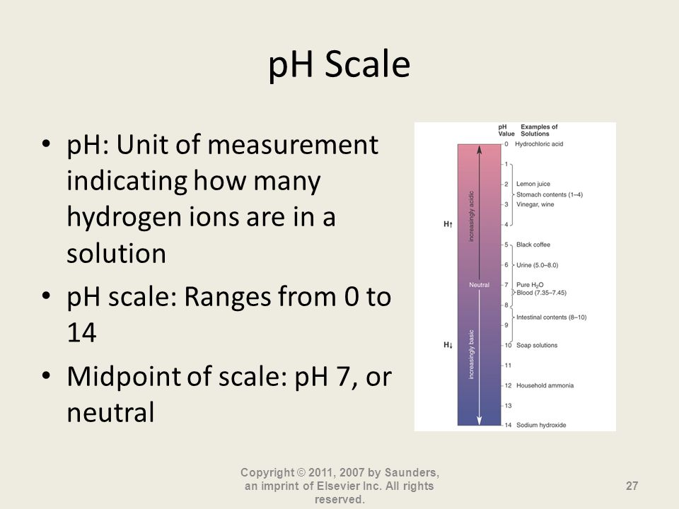 pH Scale pH: Unit of measurement indicating how many hydrogen ions are in a solution pH scale: Ranges from 0 to 14 Midpoint of scale: pH 7, or neutral