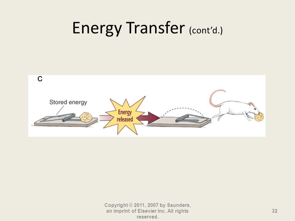 Energy Transfer (contd.) Copyright © 2011, 2007 by Saunders, an imprint of Elsevier Inc. All rights reserved. 32