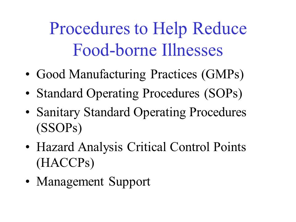Procedures to Help Reduce Food-borne Illnesses Good Manufacturing Practices (GMPs) Standard Operating Procedures (SOPs) Sanitary Standard Operating Pr